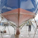 Profile of her stiff hull