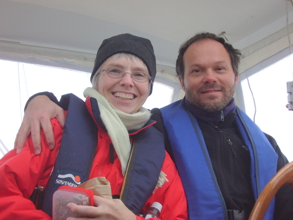 Marilyn and Van aboard Rainshadow during the pre-purchase sea trial