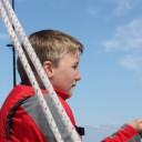 Max, the Sr Deckhand, raising the mizzen sail