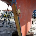 The rudder was removed for rebuilding