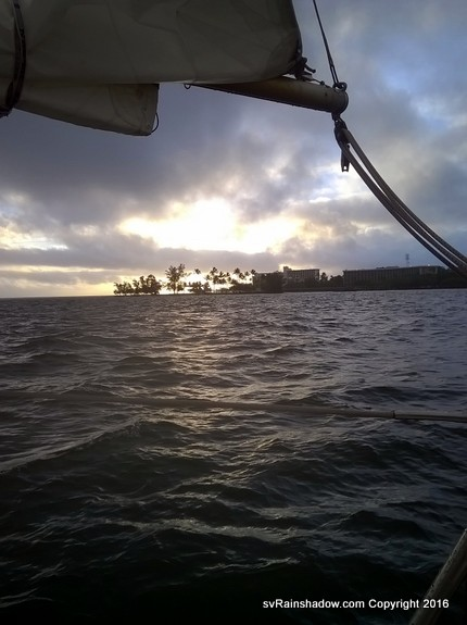 Sunrise over Coconut Island in Hilo Bay, after we make landfall before dawn